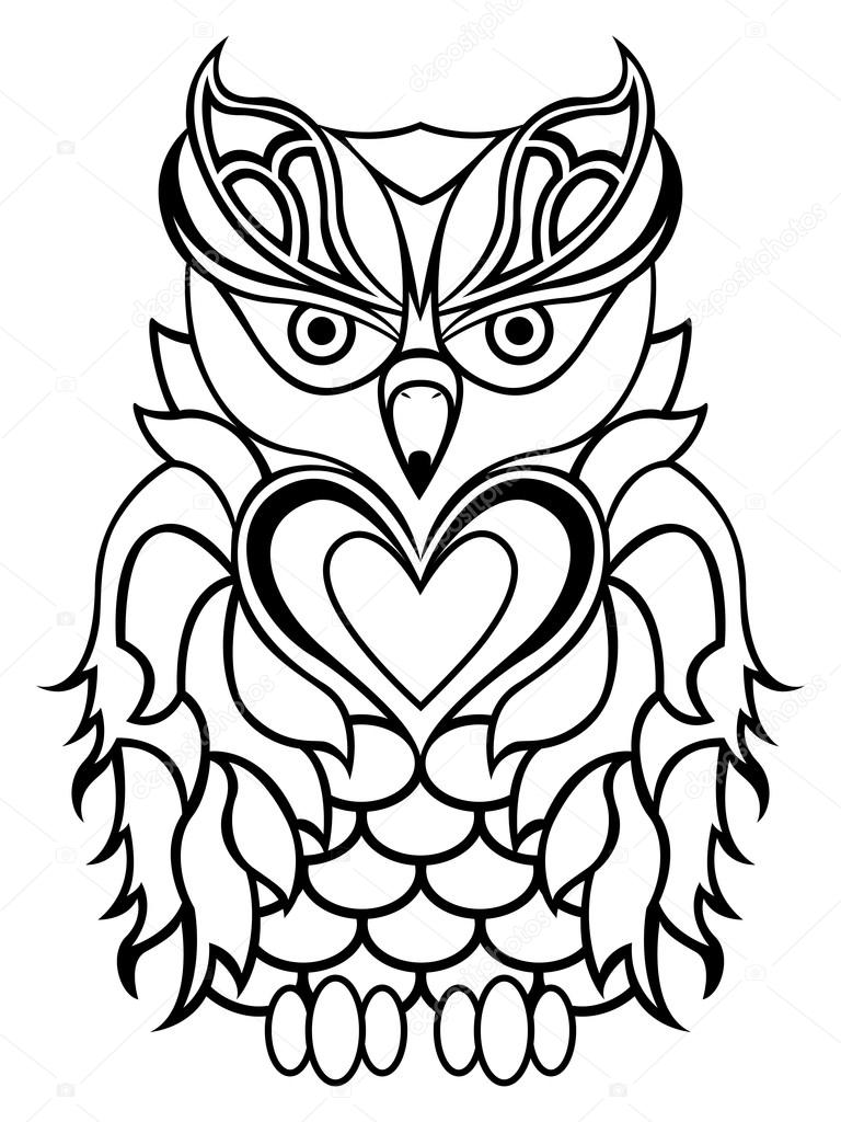 768x1024 Big Serious Owl Outline Stock Vector Natreal