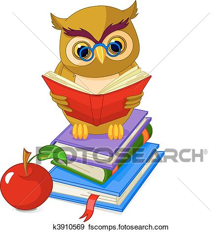450x470 Clip Art Of Wise Owl Sitting On Pile Book K3910569