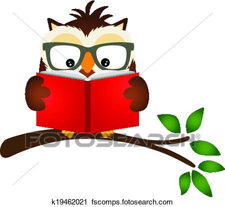 450x415 Clipart Of Owl Reading A Book On Tree Branch K19462021