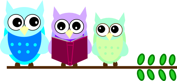 600x276 Owl Family Reading Clip Art