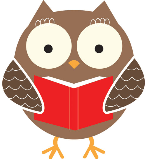 500x540 Owl Reading Book Clipart