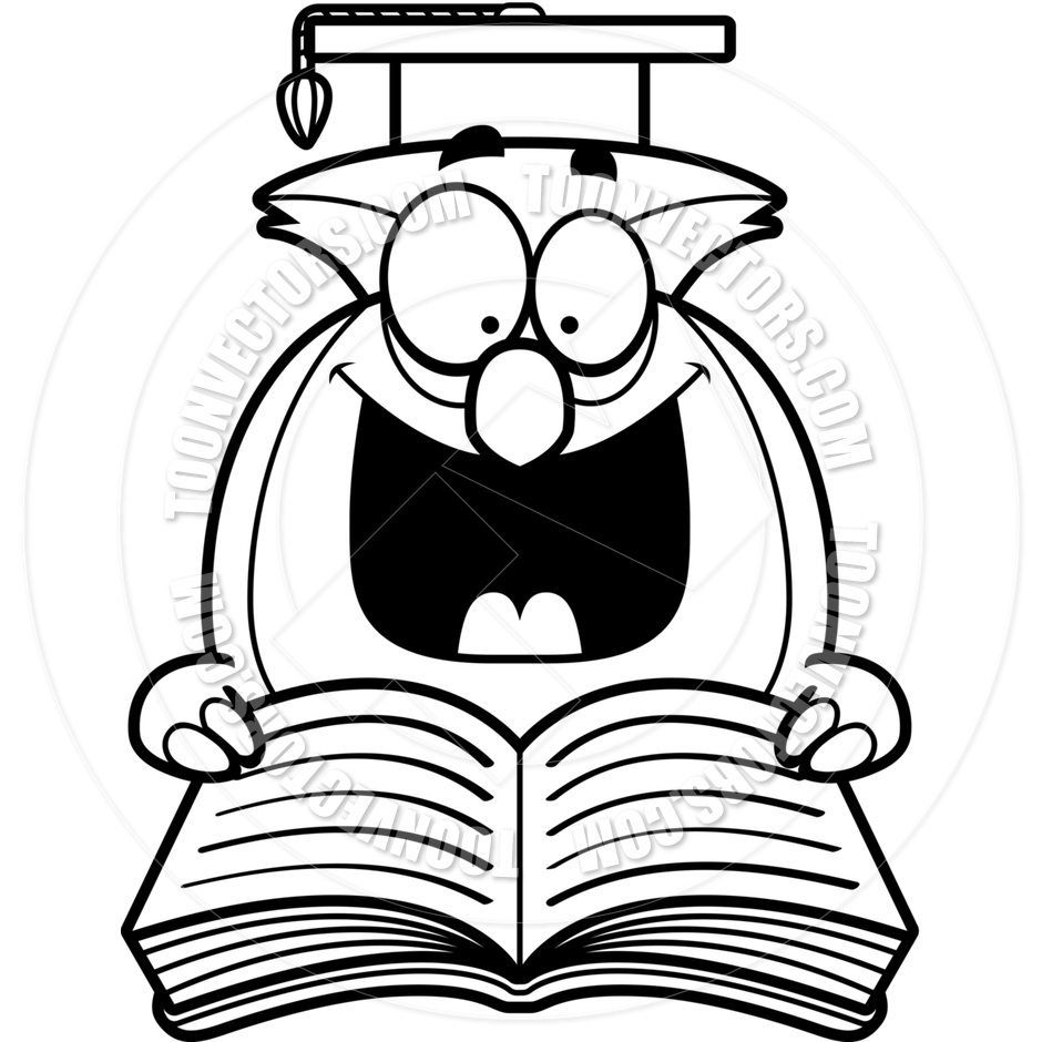 940x940 Cartoon Little Owl Reading (Black And White Line Art) By Cory