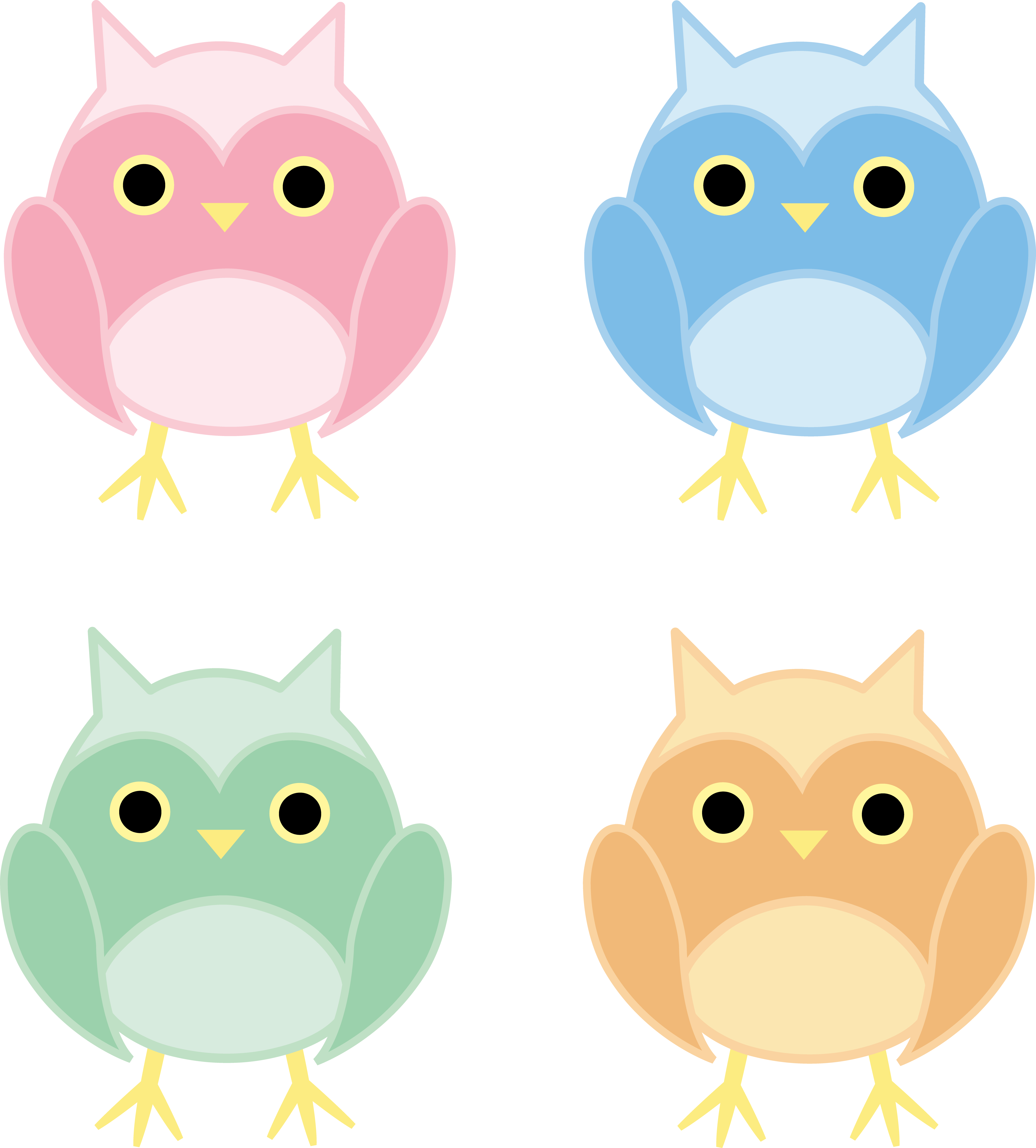 5563x6164 Set Of Four Cute Owls