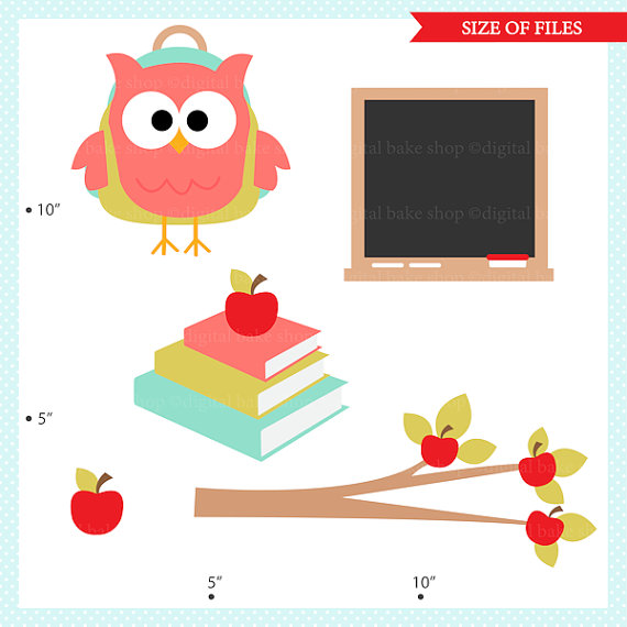 570x570 Owl School Clip Art Digital Clipart Owl School Digital