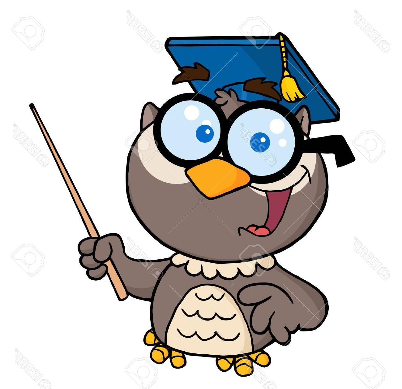 1300x1257 Unique Owl Teacher Cartoon Character With Graduate Cap Pointer