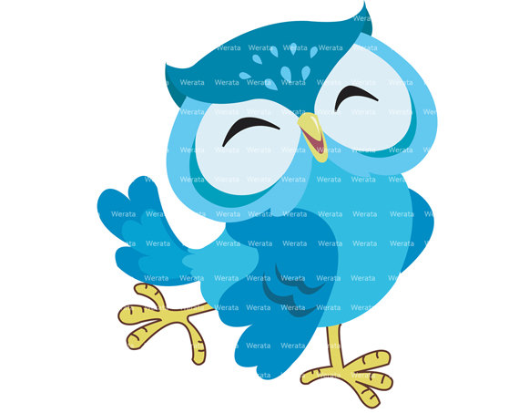570x453 Blue Owl Clip Art Digital Clipart Cute Owl Digital Clip By Werata