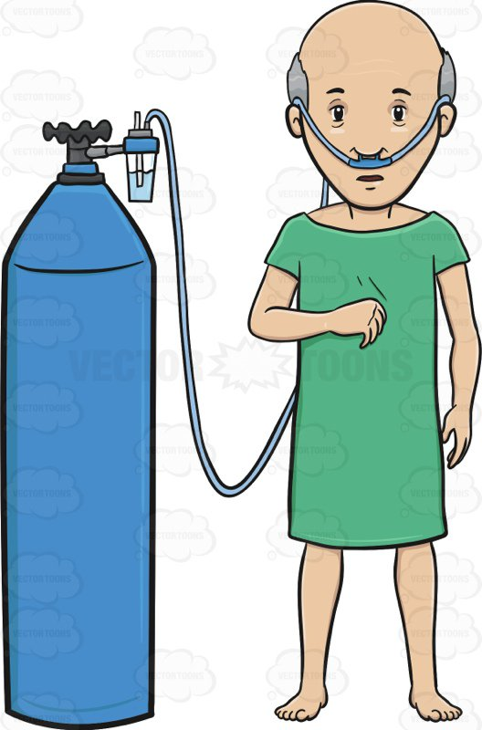 528x800 Old Man In A Hospital Gown Hooked Up To An Oxygen Tank Cartoon