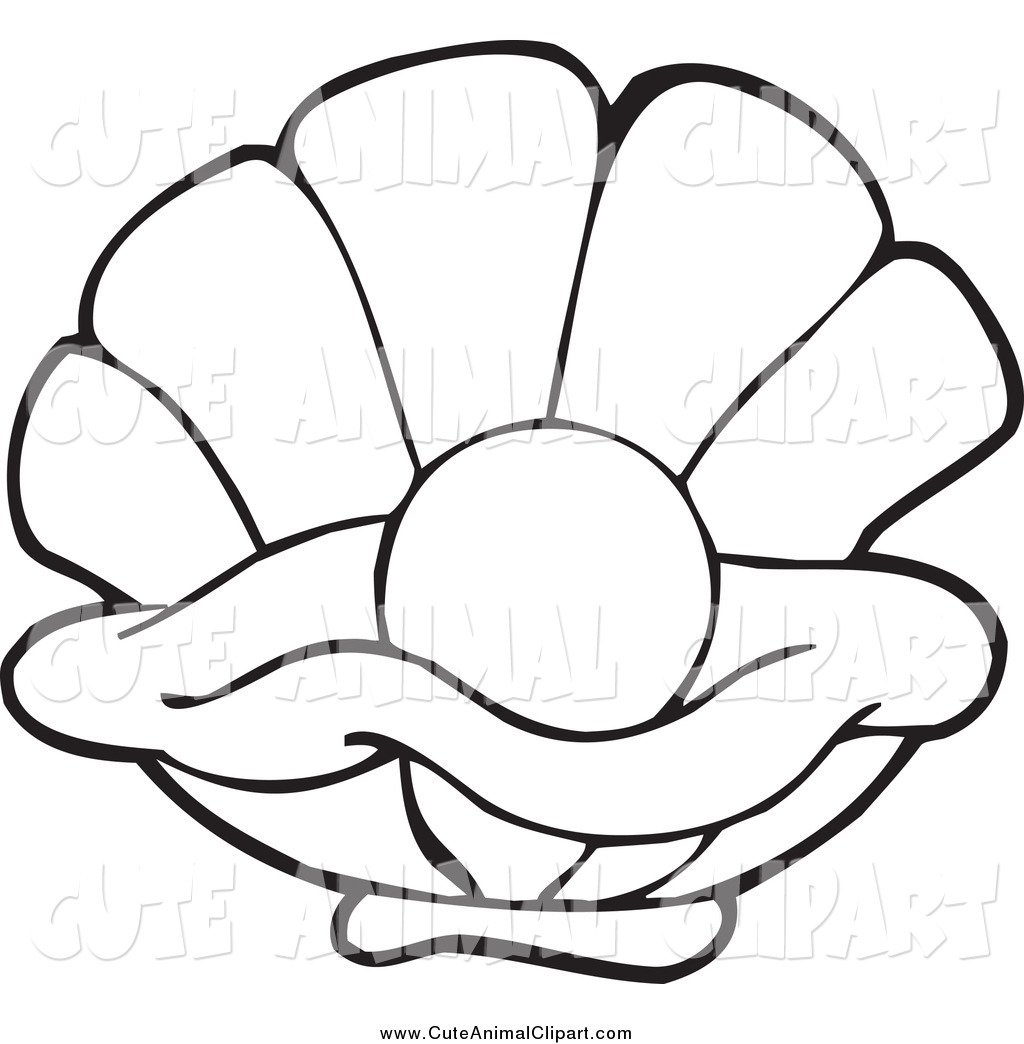 1024x1044 Vector Cartoon Clip Art Of A Black And White Pearl In An Oyster By