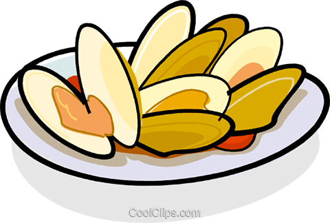 480x324 Clams On A Plate Royalty Free Vector Clip Art Illustration