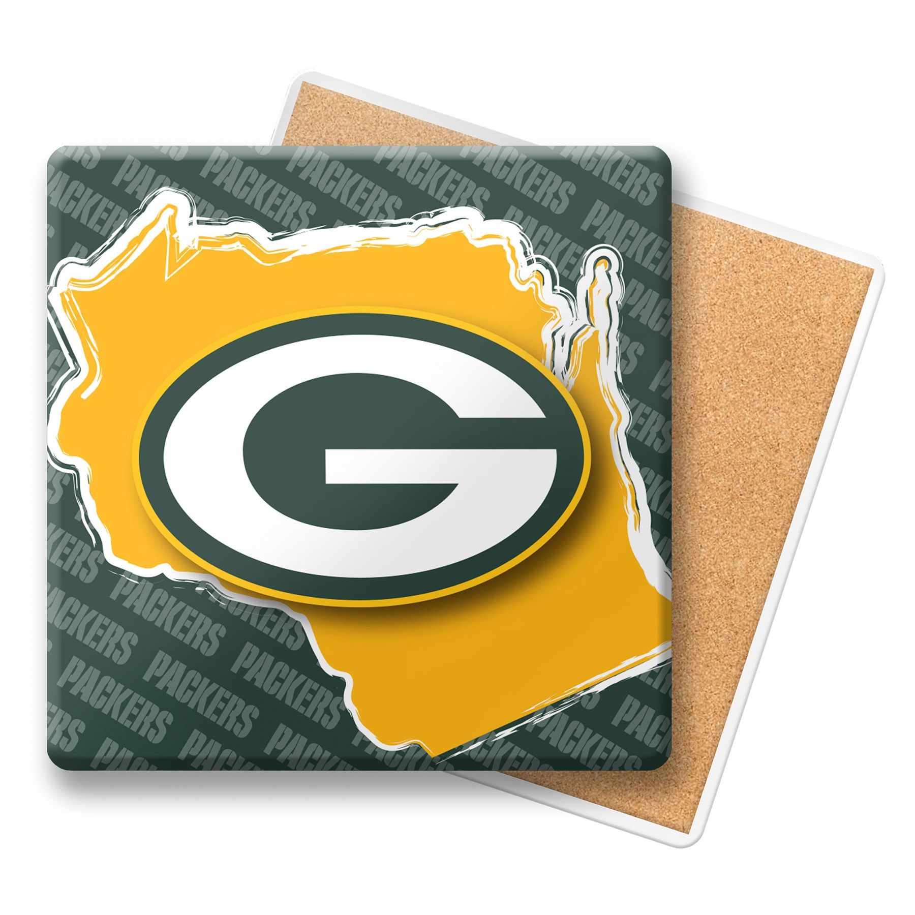1800x1800 Green Bay Packers Ceramic State Coaster