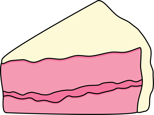 500x376 Slice Of Pink Cake With White Frosting Clip Art