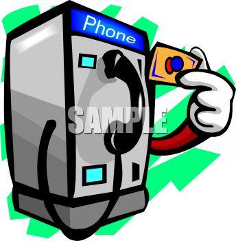 344x350 Cartoon Of A Pay Phone Using A Pre Paid Phone Card