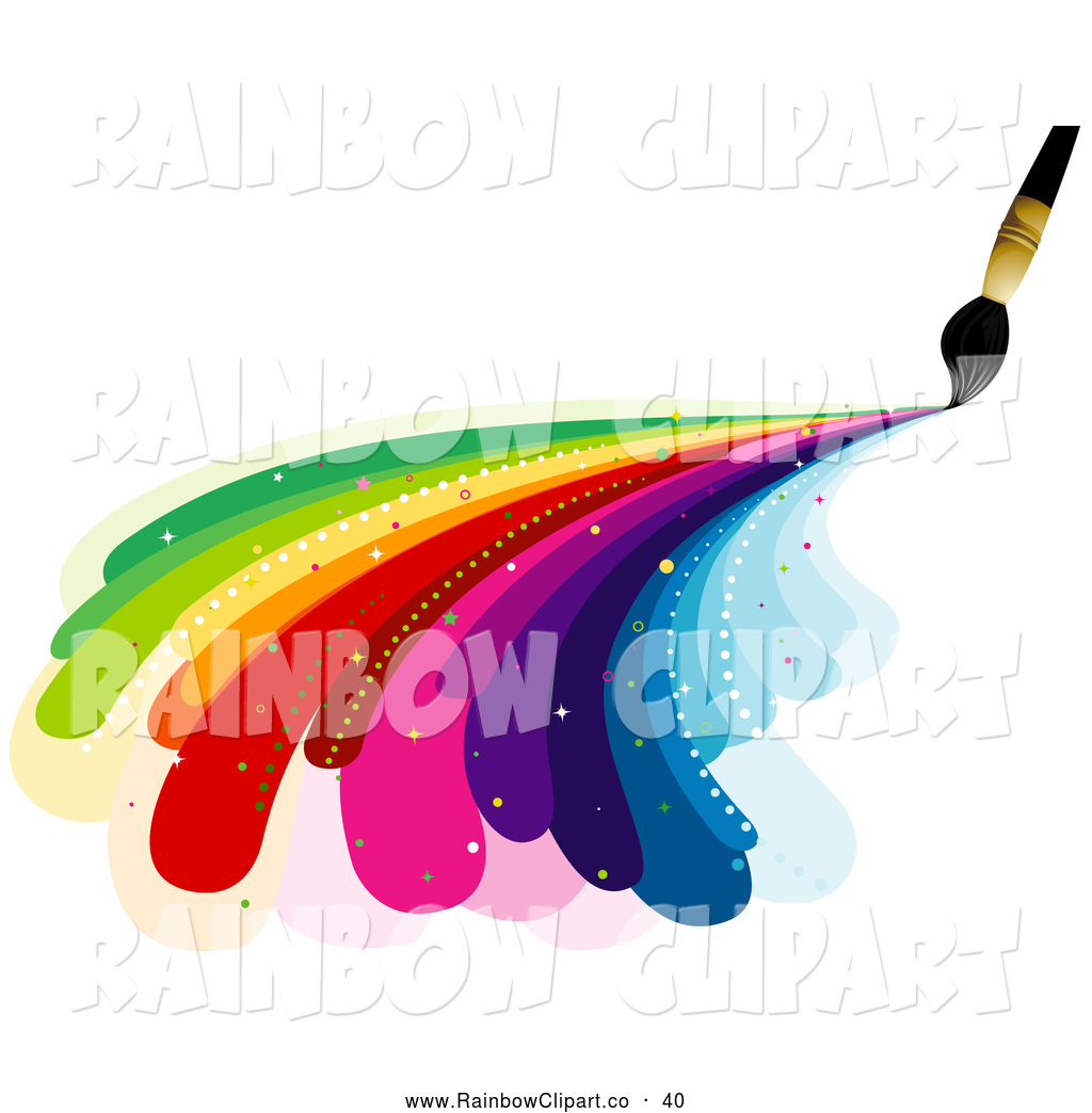 1024x1044 Vector Clip Art Of A Rainbow Paintbrush Painting Rainbow Curves By