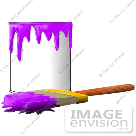 450x450 Clip Art Graphic Of A Paintbrush Beside A Dripping Can Of Purple