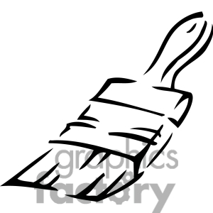 300x300 Free Paint Brush Clip Art Black And White