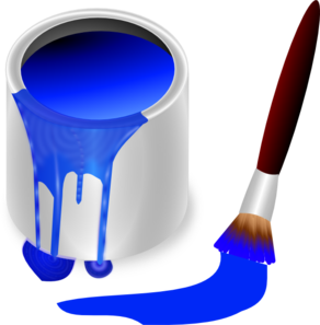 292x297 Blue Paint Brush And Can Clip Art