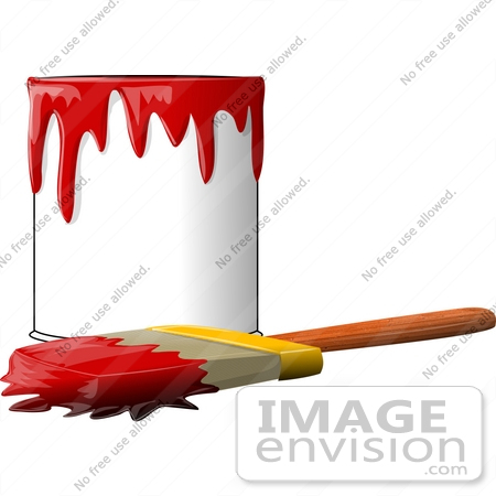 450x450 Can Of Red Paint With A Paintbrush Clipart