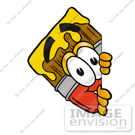 450x450 Clip Art Graphic Of A Red Paintbrush With Yellow Paint Cartoon