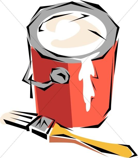 535x612 Brush And Paint Bucket Church Activity Clipart