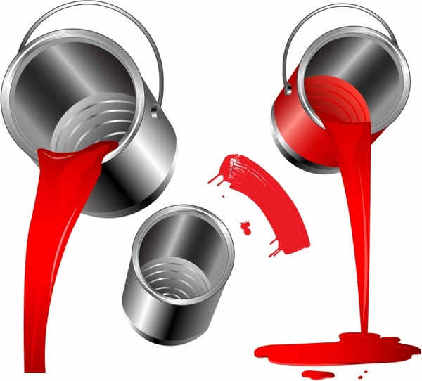 600x542 Pouring Red Paint Free Vector In Adobe Illustrator Ai ( Ai