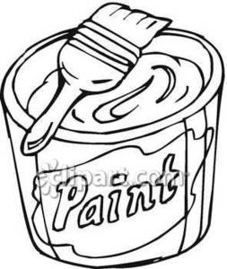 253x300 Can Of Paint And A Paintbrush Royalty Free Clipart Picture