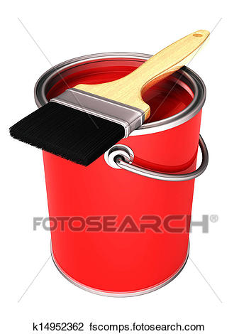 337x470 Clip Art Of 3d Red Paint Can And Paint Brush K14952362