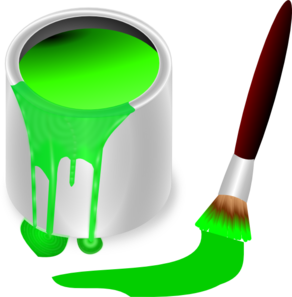 292x297 Green Paint Brush And Can Clip Art