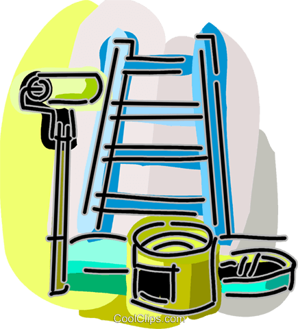 435x480 Ladder With Paint Can And Paint Roller Royalty Free Vector Clip
