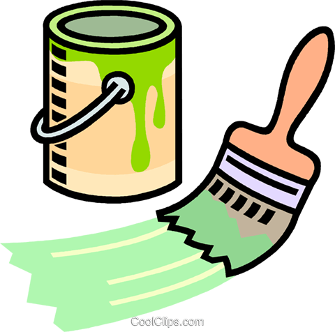 480x476 Paint Can, Paint Brush Royalty Free Vector Clip Art Illustration