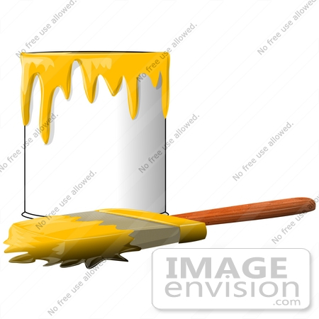 450x450 Clip Art Graphic Of A Paintbrush Beside A Dripping Can Of Yellow