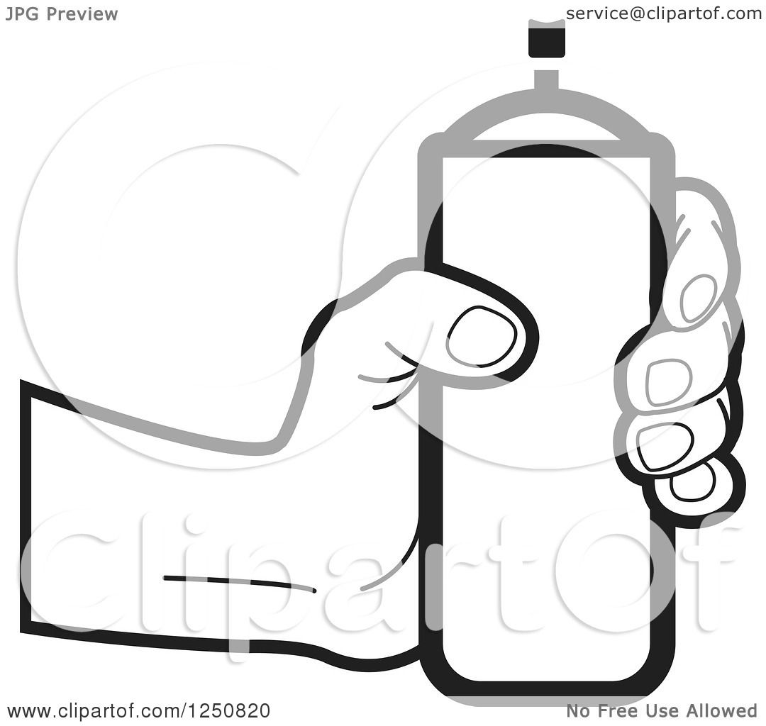 1080x1024 Clipart Of A Black And White Hand Holding A Can Of Spray Paint