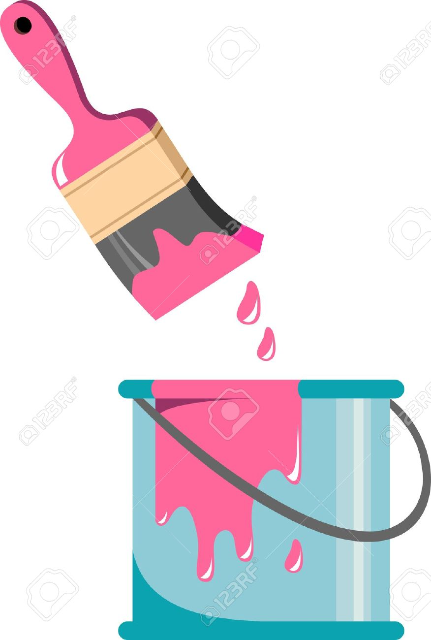 876x1300 Paint Clipart 8638239 Brush And Paint Can Stock Vector Cartoon