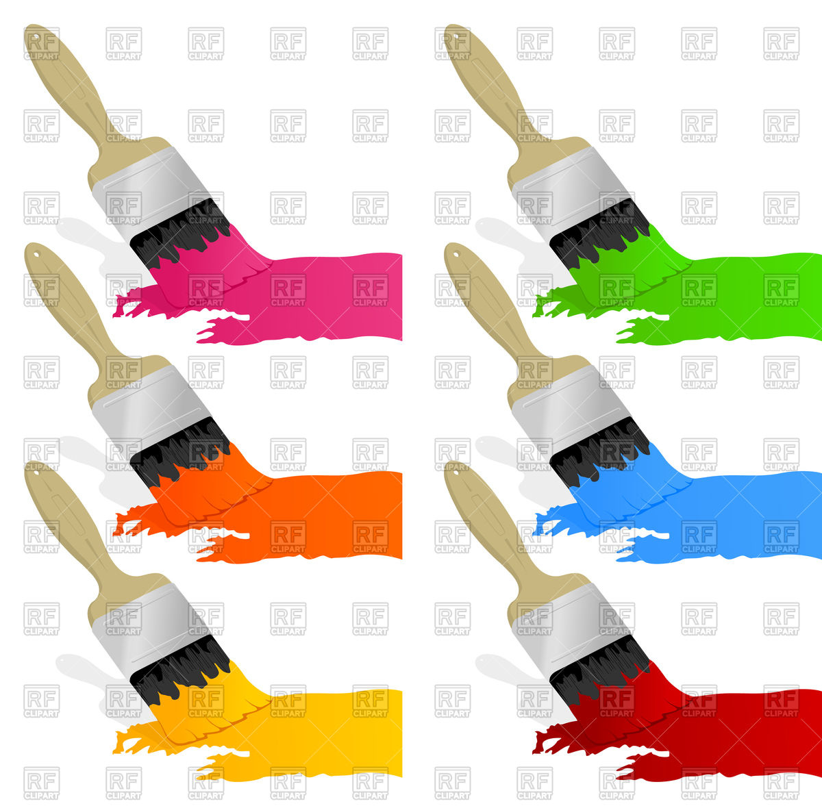 1200x1177 Set Of Brushes With Paint Royalty Free Vector Clip Art Image