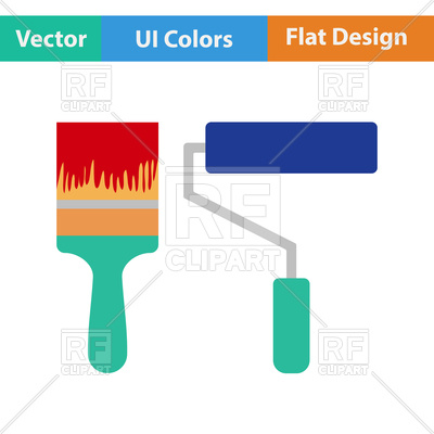 400x400 Flat Design Icon Of Paint Brush Royalty Free Vector Clip Art Image