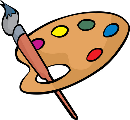 434x400 Paint Brushes And Palette Clip Art