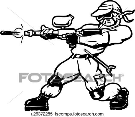 450x390 Clipart Of , Cartoon, Paintball, Sport, Wacky, Action, Extreme