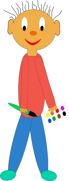 228x599 Kid Holding Paint Brush Clip Art Free Vector In Open Office