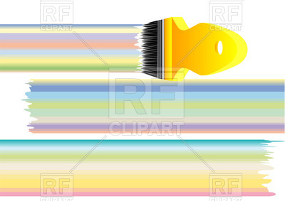 400x283 Paint Brush And Lines Of Pastel Colours Royalty Free Vector Clip
