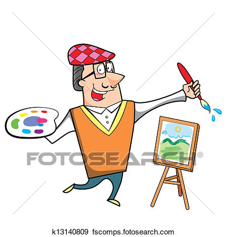 450x470 Clip Art Of Cartoon Artist With Paintbrush And Canvas Easel