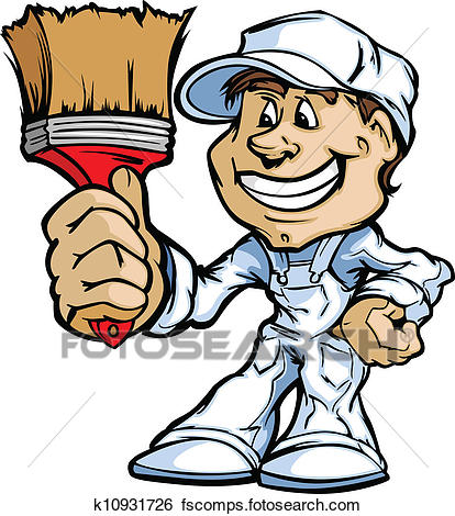 414x470 Clip Art Of Happy Painter Contractor Standing With Paint Brush