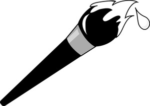 300x213 Paintbrush Clipart Black And White Letters Example