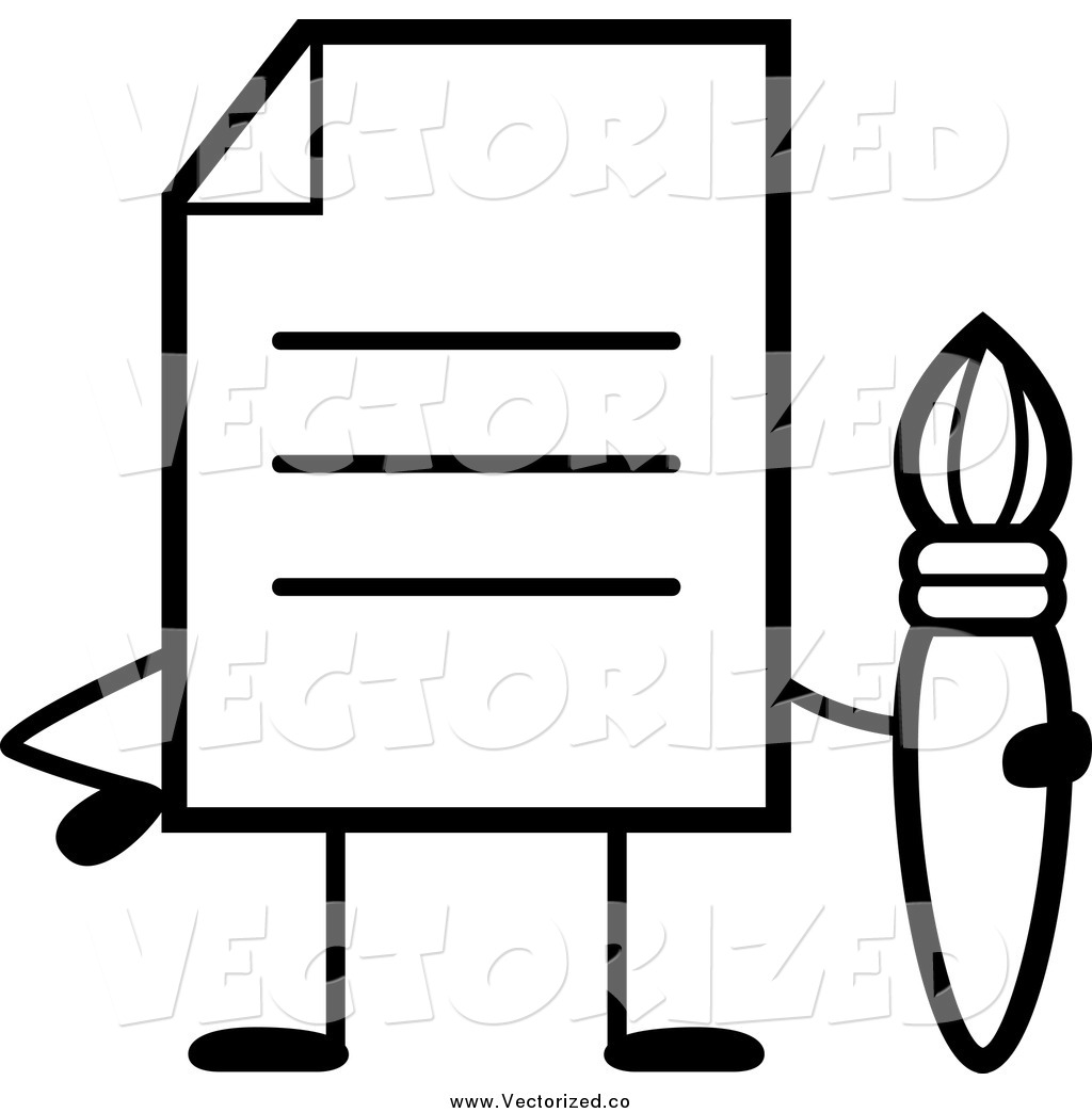 1024x1044 Royalty Free Clipart Of A Black And White Note Document Character