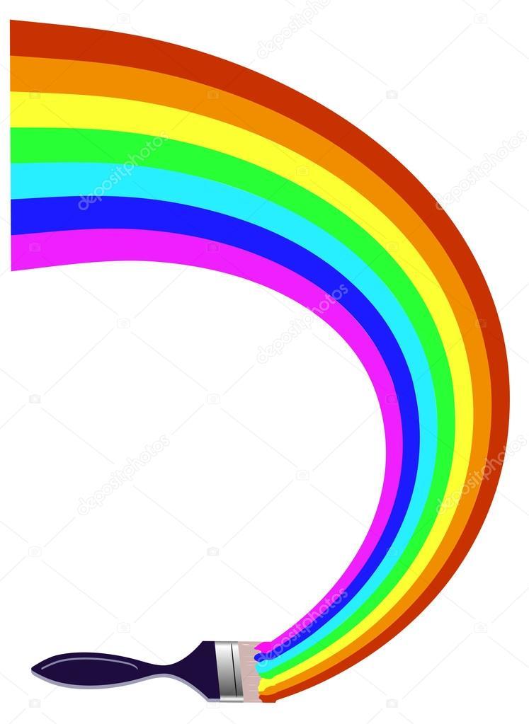 747x1023 Paintbrush Drawing A Rainbow Stock Vector Matc