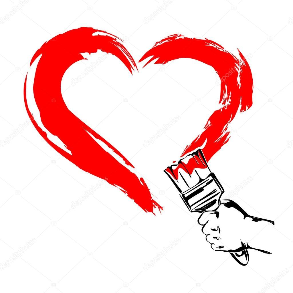 1024x1024 Heart Paint Brush Hand Cartoon Vector Illustration Stock Vector