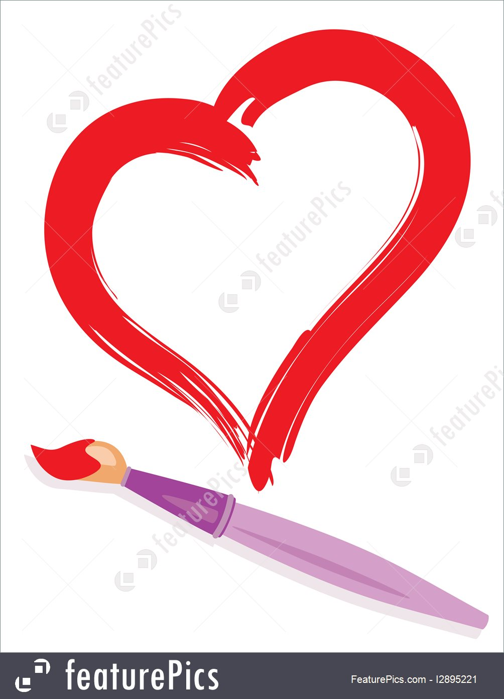 1004x1392 Illustration Of Paintbrush And Painted Heart