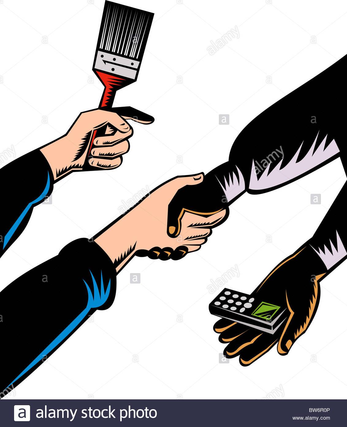 1132x1390 Illustration Of A Handshake Bartering Cellphone For Paint Brush