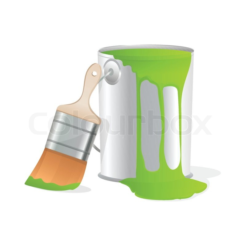 800x800 Illustration Of Paint Bucket With Paint Brush On Isolated White