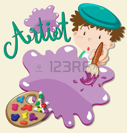 431x450 Artist With Paints And Paintbrush Illustration Royalty Free
