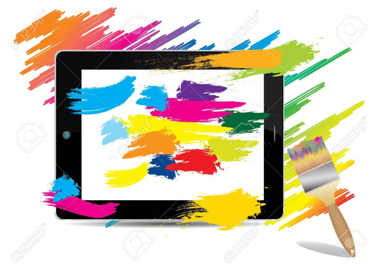 1300x919 Paint Brush Colorful On Tablet Computer , Vector Illustration