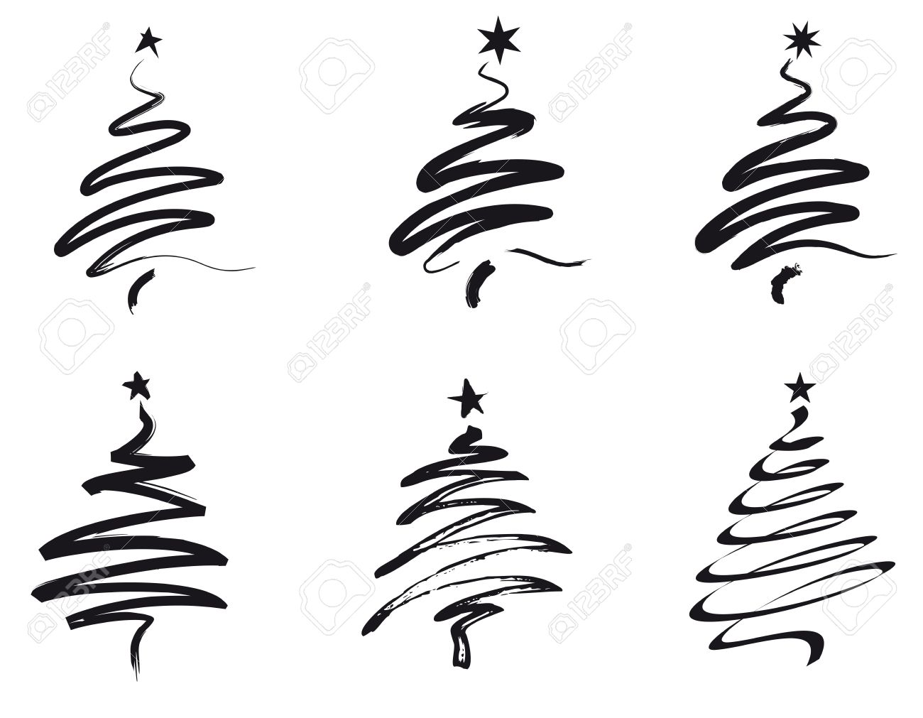 1300x1011 Paint Brush Stroke Christmas Trees In Black Royalty Free Cliparts